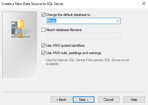 Screenshot of setting the default database