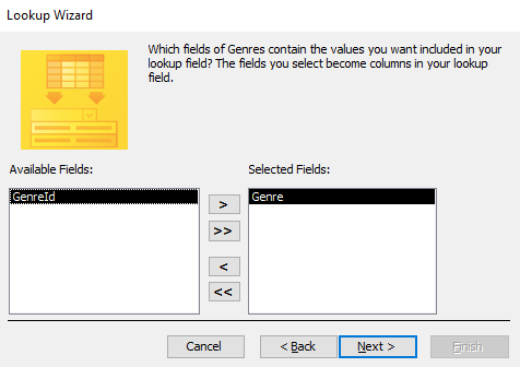 Screenshot of the Lookup Wizard