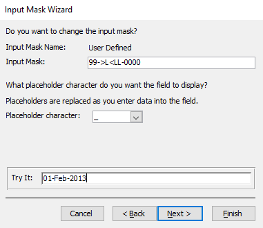 Screenshot of the Input Mask Wizard