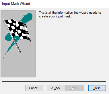 Screenshot of the next stage of the Input Mask Wizard
