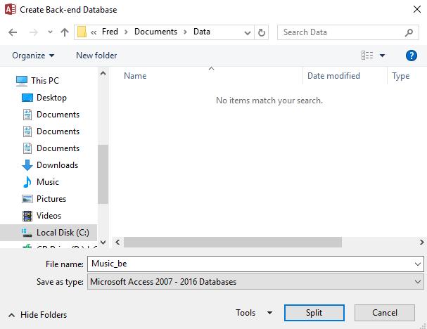 Screenshot of the Database Splitter wizard.