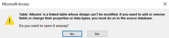 Screenshot of the Design View message.