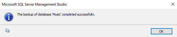 Screenshot of backing up a database in SQL Server 2016.