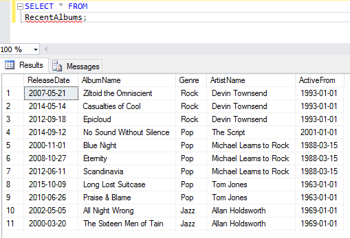 Screenshot of altering a view in SQL Server.