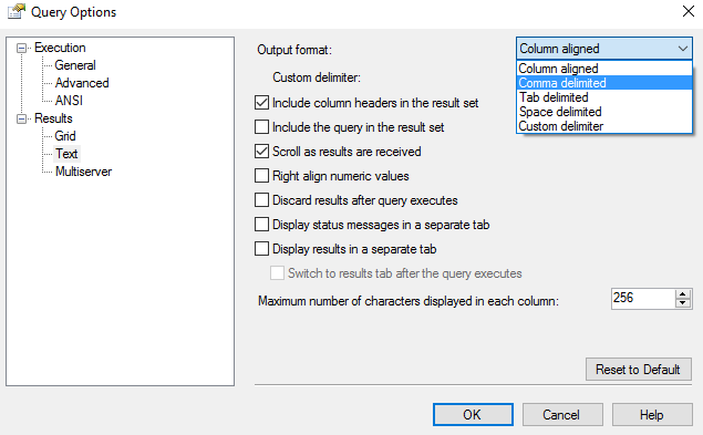 Screenshot of the Query Options icon.
