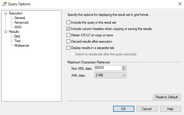 Screenshot of the Query Options dialog box.